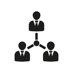 The management icon. Team and group, teamwork, people, alliance symbol. UI. Web. Logo. Sign. Flat design. App.