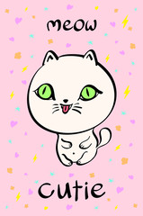 Cutie cat illustration for t-shirt or other uses,in vector.