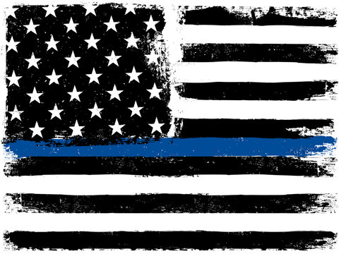 American Flag with Thin Blue Line. Grunge Aged Background. Monoc