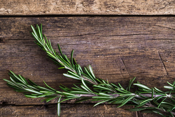 rosemary on the wooden background