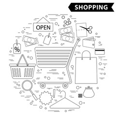 Shopping and a supermarket -  concept of icons, infographics elements, round template. Modern line flat design. Vector.