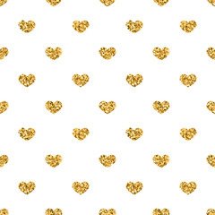Golden hearts seamless pattern. Gold glitter and white template. Abstract geometric texture. Retro. Valentine day Design template for card, wallpaper, wrapping, textile, fabric etc Vector Illustration