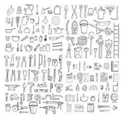Big household objects set. Kitchenware. Set  of stationery. Garden tools. Construction tool collection. Doodles. Isolated.