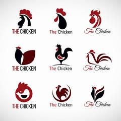 Black red and brown Chicken logo vector set design
