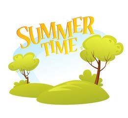 Poster Groene koraal Cartoon Summer Landscape Background. Summer tree. Vector illustration