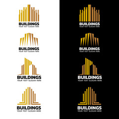 Yellow gold stripes Building logo vector set design