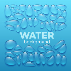 Water drops on blue background. Vector illustration