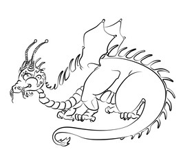 black and white image of a dragon