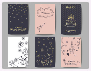 Set of Birthday cards with Hand drawn birthday cake, balloons, gift and festive attributes. Vector illustration.