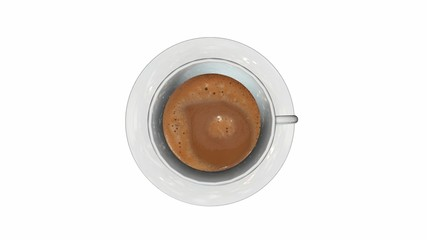 Top view of a cup of coffee isolate on white