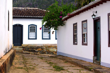 streets of the historical town Tiradentes Brazil