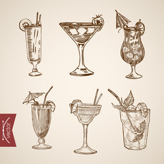 Cocktail aperitif alcohol glasses lineart vector retro vintage