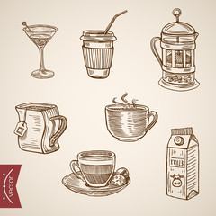 Hot beverage cups tea milk coffee late engraving vector vintage