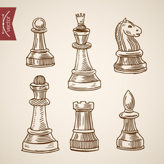 Chess piece figure king queen engraving lineart vintage vector