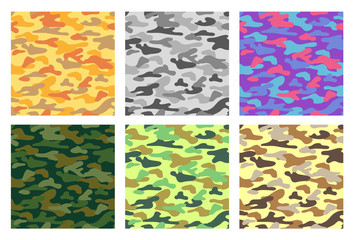 Collection of seamless patterns with camouflage. Different colors.