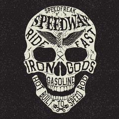 Vintage label with skull