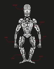Cyborg in doodle style. Chalkboard.
