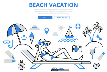 Beach vacation tropical concept flat line art vector icons