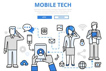 Mobile tech communication concept flat line art vector icons