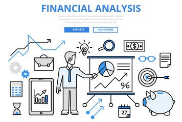 Financial analysis business report concept flat line art vector