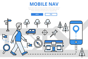 Mobile navigation GPS concept flat line art vector icons