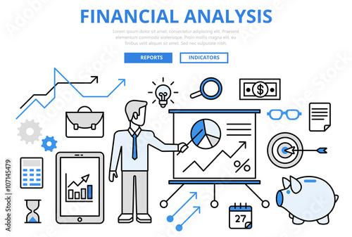 Financial analysis business report concept flat line art vector ...