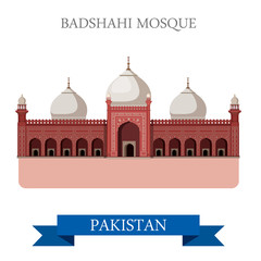 Badshahi Mosque Lahore Pakistan vector flat attraction travel