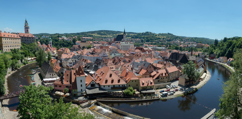 Panorama of the historical part of Cesky Krumlov with Castle and Church of St. Vitius, Czech Republic. UNESCO Heritage.