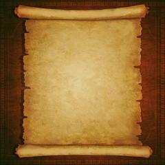 Old scroll paper on vintage wooden background