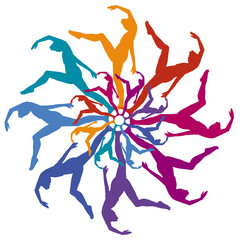 A group of colorful silhouetted dancers forming a circle within a circle on a white background