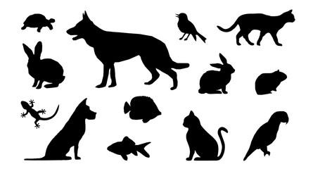 Silhouette Haustiere - Hund, Katze, Vogel u.a.