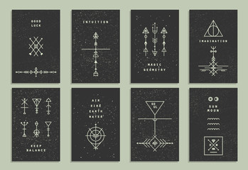Set of vector trendy cards with geometric icons. Alchemy symbols