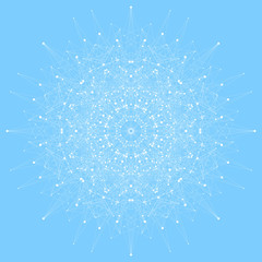 Geometric abstract round form with connected line and dots. Graphic composition for your design. Vector illustration