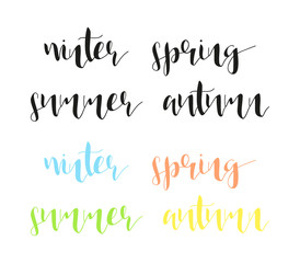 Seasons in calligraphy. Winter and summer. Spring and autumn. Time of year. Phrase in english calligraphy handmade. Stylish, modern calligraphic. Elite quote. Design brochures, posters.