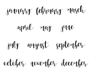 12 month names in calligraphy. Winter and summer. Spring and autumn. Time of year. Phrase in english calligraphy handmade. Stylish, modern calligraphic. Elite quote. Design brochures, posters.