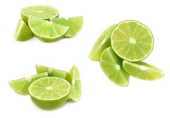 Served lime fruit composition isolated over the white background, set of different foreshortenings