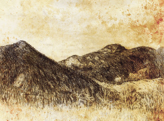 landscape painting and mountain  on old paper background.