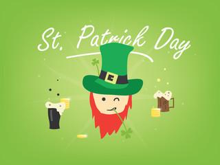 St. Patrick's Day vector cartoon illustration. Leprechaun