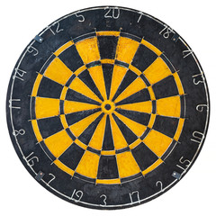 Vintage dartboard isolated on white