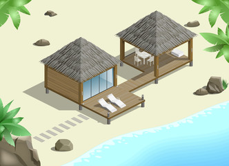 Modern bungalow on the ocean in the jungle