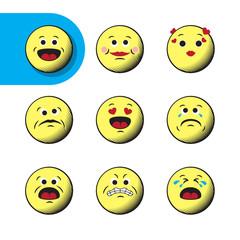 Set of retro emoji emoticons
