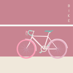 Bicycle Vector Illustration Design on Pink Tone
