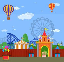 Amusement park. Vector flat illustration