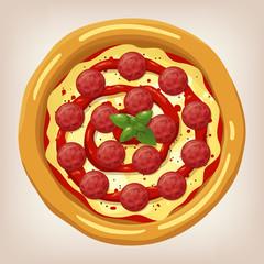 Pizza Pepperoni vector illustration. Pizza set. Cartoon style icon. Restaurant menu illustration.
