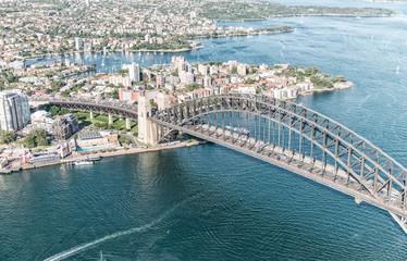 Printed roller blinds Sydney Sunset over Sydney Harbour, helicopter view