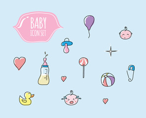 Cute baby icon set. Cartoon pictograms. Vector icon pack.