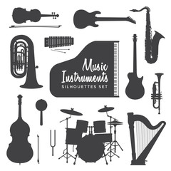 music instruments silhouettes collection.