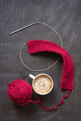 Knitting and a cup of coffee