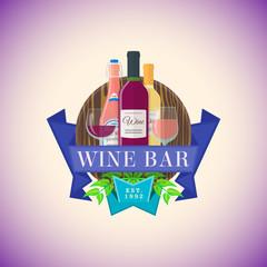 color flat wine bar emblem template.
