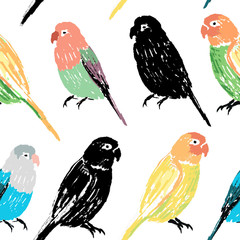 Seamless pattern with colorful hand drawn parrots